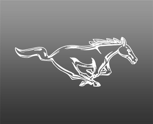 "Mustang 8"" Running Pony Decal RH White"