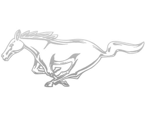 "Mustang 12"" Running Pony Decal LH Silver"