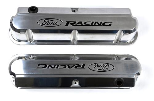 Ford Racing Mustang Logo Slant Edge Valve Covers Polished (79-85) 5.0