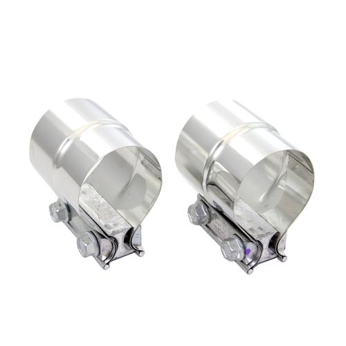"Pypes Mustang Stepped 2.5"" Exhaust Clamps, Pair Stainless - Pypes Mustang Stepped 2.5"" Exhaust Clamps, Pair Stainless"