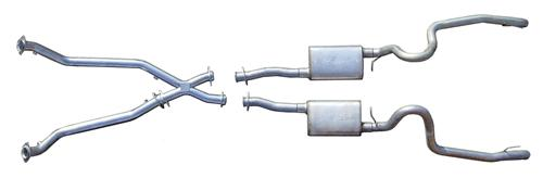 "Pypes Mustang 2.5"" Dual Turn Down & Off Road X-Pipe Exhaust Kit Stainless Steel (98-04) V6 3.8"