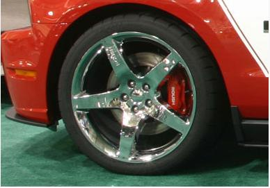 2010-14 Mustang Roush 20 inch Wheel, Chrome, w  Cooper Zeon RS3 Tire & Valvestem TPMS sensor. Set of 4