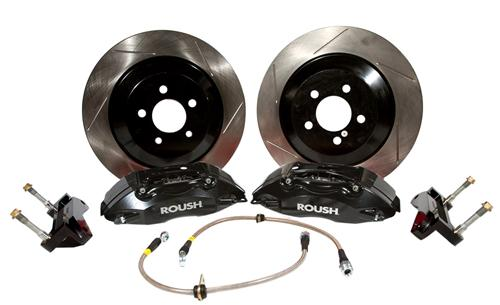 2005-14 Mustang Roush Black 4 Piston Brake Kit w/ 1 pc Rotors  Fits v6, gt, gt500  http://www.roushperformance.com/parts/2005-2013-Mustang-Black-4-Piston-Brake-Kit-1pc-Rotors.html