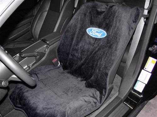 Mustang Ford Logo Seat Armour Cover Pair Black (79-14)