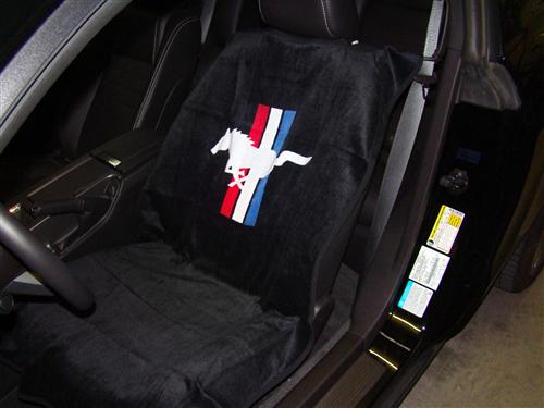 Mustang Running Pony Seat Armour Cover Pair Black (79-14)