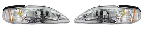 Mustang One Piece Headlight Kit Clear/Chrome (94-98)