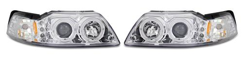 SVE Mustang Halo LED Projector Headlight Kit Chrome (99-04)