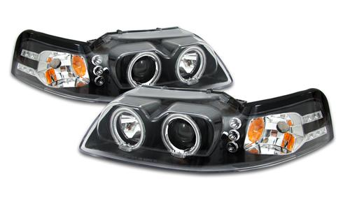 SVE Mustang Halo LED Projector Headlight Kit Black (99-04)