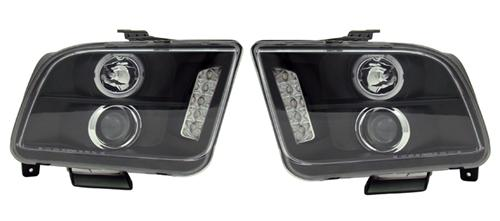 SVE Mustang Ccfl Led Halo Projector Headlight Kit Black (05-09)