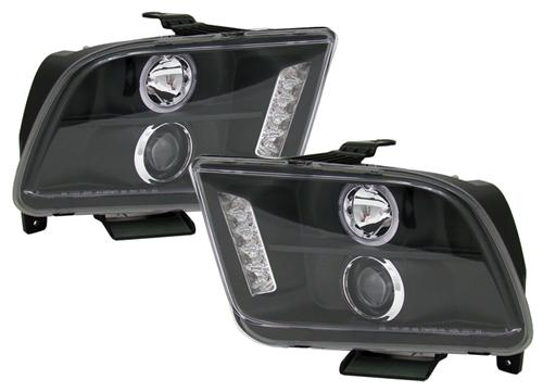 Mustang Ccfl Led Halo Projector Headlight Kit Black (05-09)