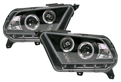 Mustang Projector Headlights Black (10-12)
