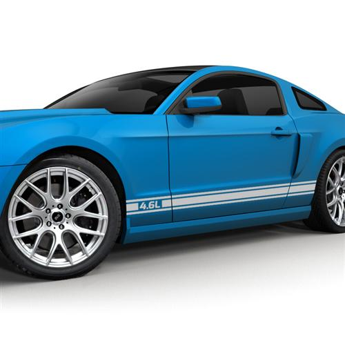 2005-10 Mustang Rocker Stripe Kit, 4.6 Logo, Silver.   Get with Jeff Oliver for A 3D Rendering To Use As Photo - Picture of 2005-10 Mustang Rocker Stripe Kit, 4.6 Logo, Silver.