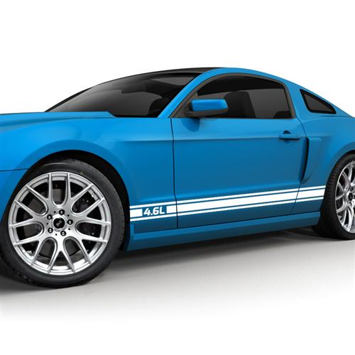 2005-10 Mustang Rocker Stripe Kit, 4.6 Logo, Gloss White.   Get with Jeff Oliver for A 3D Rendering To Use As Photo