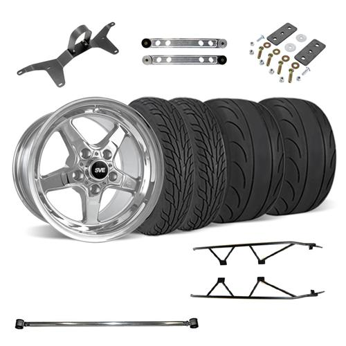 SVE Mustang Drag Wheel Track Pack 17x4.5/15x10  Chrome (05-14) - SVE Mustang Drag Wheel Track Pack 17x4.5/15x10  Chrome (05-14)
