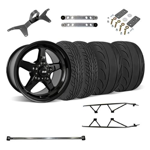 SVE Mustang Drag Wheel Track Pack 17x4.5/15x10 Black (05-14) - SVE Mustang Drag Wheel Track Pack 17x4.5/15x10 Black (05-14)