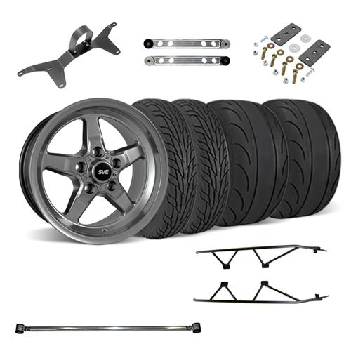 SVE  Mustang Drag Wheel Track Pack 17x4.5/15x10 Dark Stainless  (05-14) - SVE  Mustang Drag Wheel Track Pack 17x4.5/15x10 Dark Stainless  (05-14)