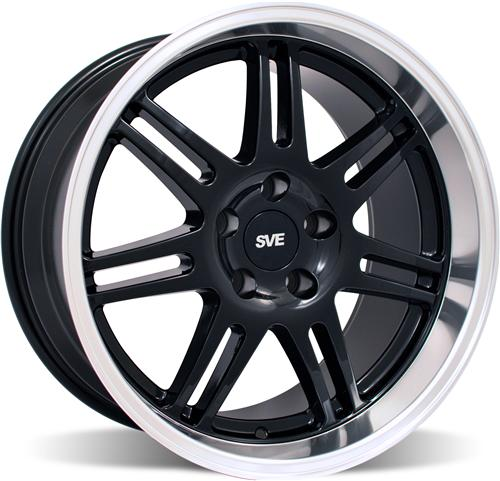 SVE Mustang Deep Dish Anniversary Wheel - 18x10 Black W/ Machined Lip (94-04)