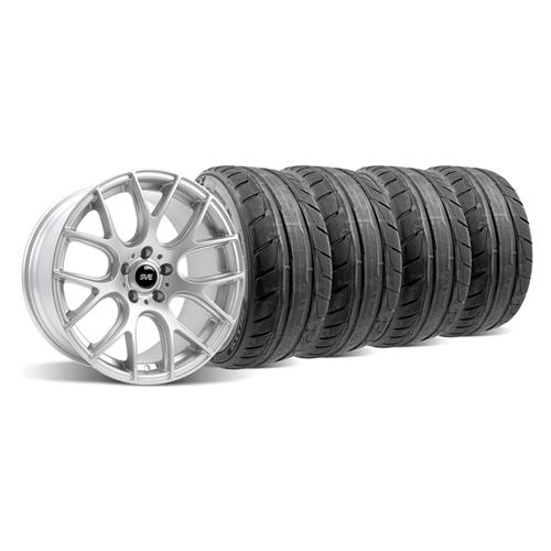 2005-14 Mustang Silver SVE Drift Wheel and Tire Kit 19x9.5 NT05