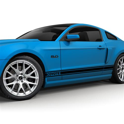 2011-14 Mustang Rocker Stripe Kit, Coyote Logo, Gloss Black.   Get with Jeff Oliver for A 3D Rendering To Use As Photo
