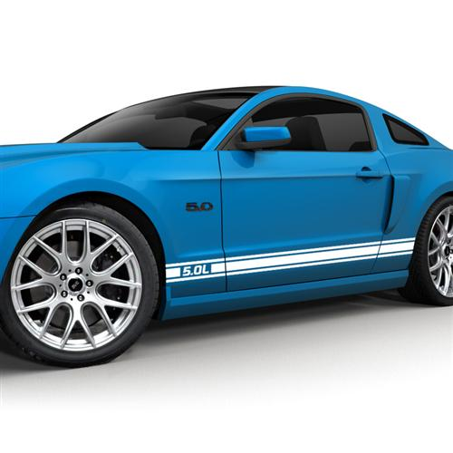 Mustang SVE 5.0L Logo Rocker Stripe Decal Kit Gloss White (11-14)