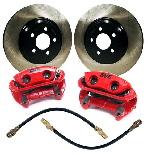 "SVE Mustang 13"" Cobra Style Front Brake Kit w/ Stock Rotors Red (94-04)"