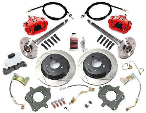 SVE Mustang 5-Lug Rear Disc Conversion Kit, 31 Spline Red (87-92)