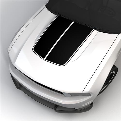 2010-12 Mustang Black Bulge Hood Stripe Kit.  Will look like GE-K368S10-BK but our own decal. Not graphics express