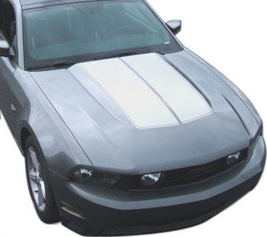 SVE Mustang Bulge Hood Stripe Kit Silver (10-12) - Picture of SVE Mustang Bulge Hood Stripe Kit Silver (10-12)