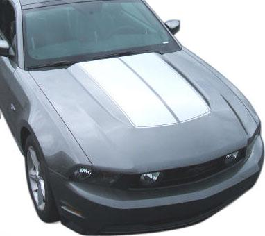 SVE Mustang Bulge Hood Stripe Kit White (10-12) - Picture of SVE Mustang Bulge Hood Stripe Kit White (10-12)
