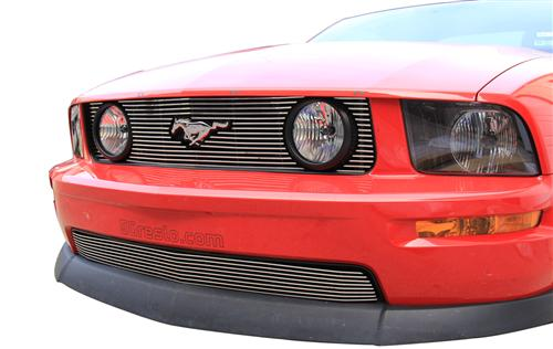 Mustang GT Upper And Lower Polished Billet Grille (05-09) - Picture of Mustang GT Upper And Lower Polished Billet Grille (05-09)