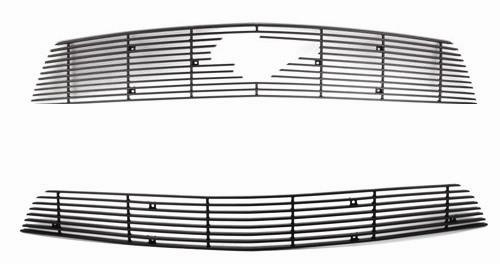 SVE Mustang Upper & Lower Billet Grille W/ Pony Opening Black (10-12) V6 - Picture of SVE Mustang Upper & Lower Billet Grille W/ Pony Opening Black (10-12) V6