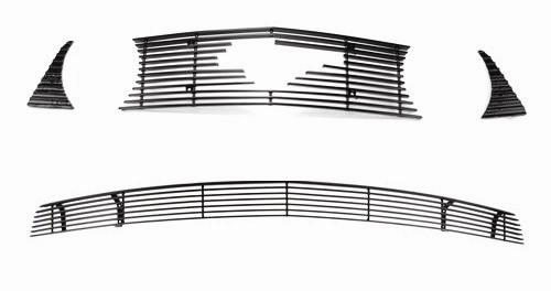 SVE Mustang Upper & Lower Billet Grille W/ Pony Opening Black (10-12) GT - Picture of SVE Mustang Upper & Lower Billet Grille W/ Pony Opening Black (10-12) GT