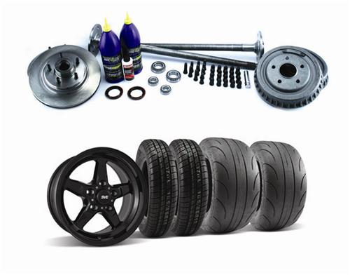 1987-93 Mustang Fox Style 5 Lug Conversion Kit with Gloss Black SVE Drag Wheel And Tire Kit, 28 Spline Axles