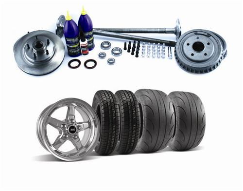 1987-93 Mustang Fox Style 5 Lug Conversion Kit with Chrome SVE Drag Wheel And Tire Kit, 31 Spline Axles - Picture of 1987-93 Mustang Fox Style 5 Lug Conversion Kit with Chrome SVE Drag Wheel And Tire Kit, 31 Spline Axles