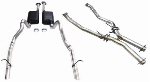 "1986-93 Mustang Exhaust Kit with 2.5"" Off Road H-Pipe And Flowmaster American Thunder Cat-Back for LX Applications, Also Fits 1993 Cobra Applications"