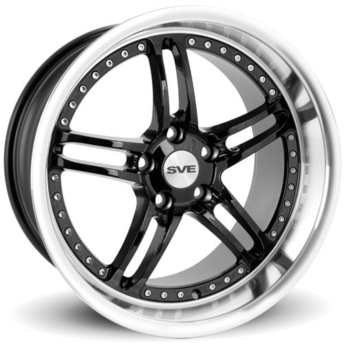 SVE Mustang Series 2 Wheel - 18x10 Black w/ Polished Lip (94-04) - SVE Mustang Series 2 Wheel