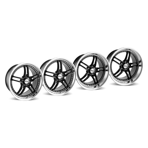 SVE Mustang Series 2 Wheel Kit -18x9/10 Black w/ Polished Lip (94-04) - SVE Mustang Series 2 Wheel Kit -18x9/10 Black w/ Polished Lip (94-04)