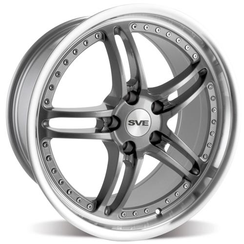 SVE Mustang Series 2 Wheel - 18x9 Gun Metal w/ Polished Lip (94-04) - SVE Mustang Series 2 Wheel - 18x9 Gun Metal w/ Polished Lip (94-04)