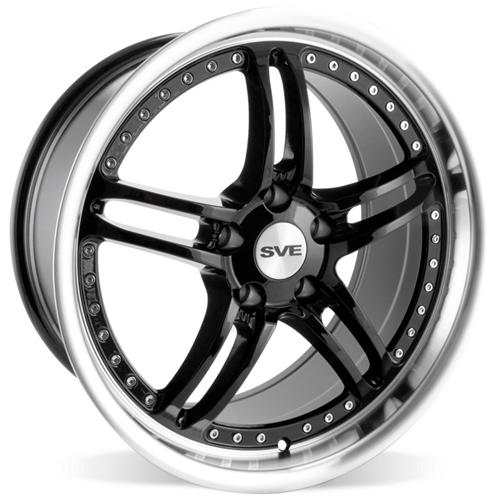 "SVE Mustang Series 2 Wheel - 19x9"" Black w/ Polished Lip (05-14) - SVE Mustang Series 2 Wheel"