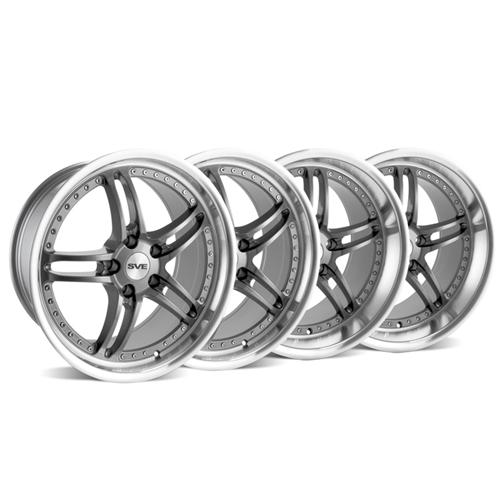 SVE Mustang Series 2 Wheel Kit -19x9/10 Gun Metal w/ Polished Lip (05-14) - SVE Mustang Series 2 Wheel Kit -19x9/10 Gun Metal w/ Polished Lip (05-14)