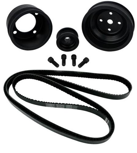 1987-1993 SVE Mustang Aluminum Underdrive Pulley An Goodyear Gatorback Belt Kit Black - Picture of 1987-1993 SVE Mustang Aluminum Underdrive Pulley An Goodyear Gatorback Belt Kit Black