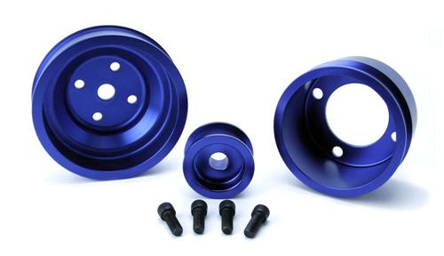 1979-93 Mustang SVE Blue Aluminum Underdrive Pulley Kit - Picture of 1979-93 Mustang SVE Blue Aluminum Underdrive Pulley Kit