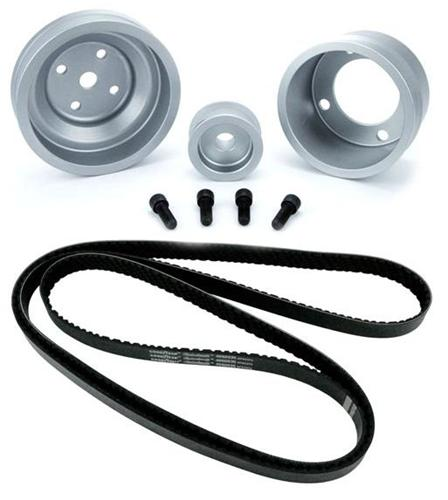 1987-1993 SVE Mustang Aluminum Underdrive Pulley An Goodyear Gatorback Belt Kit Clear - Picture of 1987-1993 SVE Mustang Aluminum Underdrive Pulley An Goodyear Gatorback Belt Kit Clear