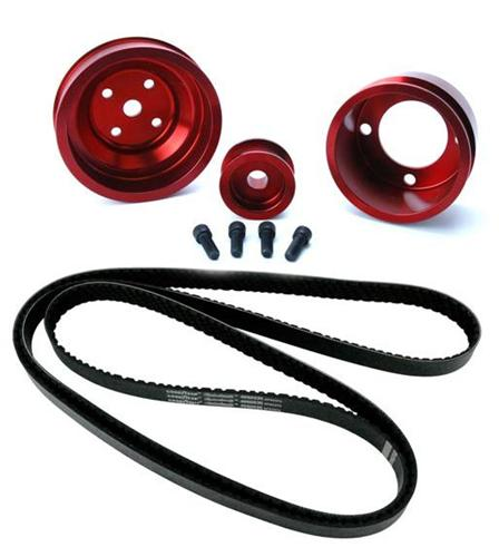 1987-1993 SVE Mustang Aluminum Underdrive Pulley An Goodyear Gatorback Belt Kit Red - Picture of 1987-1993 SVE Mustang Aluminum Underdrive Pulley An Goodyear Gatorback Belt Kit Red