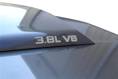 Mustang 3.8L V6 Hood Scoop Decals Silver (Pair) (99-04)