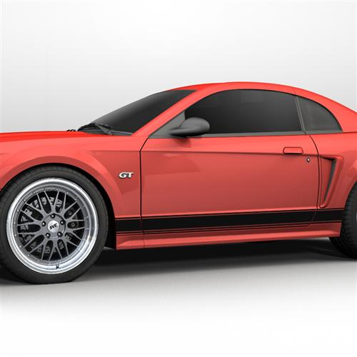 Mustang Rocker Stripes Gloss Black 99 04