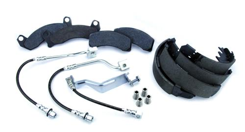 "1987-93 Mustang Brake Upgrade Package  - Picture of 1987-93 Mustang Brake Upgrade Package  Includes Hawk Hp Plus Front Brake Pads, Premium Replacement Rear Shoes, Stainless Steel Brake Hoses, Stainless Steel Brake Caliper Sleeves.  ""This Is"