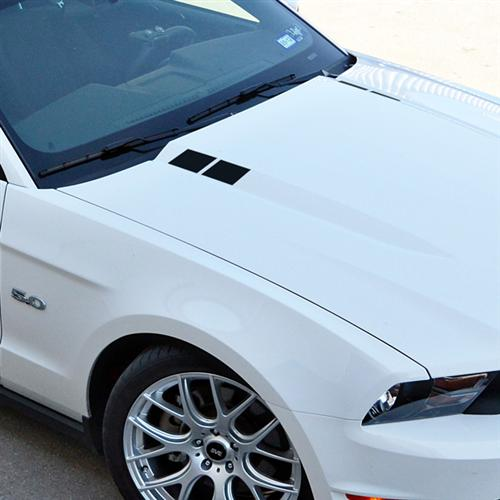 Mustang Hood Hash Marks, Black (10-12) - Picture of Mustang Hood Hash Marks, Black (10-12)