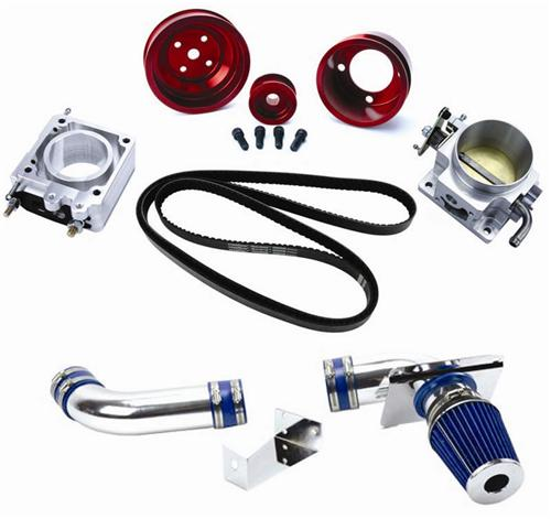 1989-1993 SVE Performance Pack Includes Cold Air Kit, Throttle Body, Egr Spacer, Gatorback Belt, And Red Underdrive Pulley Kit - Picture of 1989-1993 SVE Performance Pack Includes Cold Air Kit, Throttle Body, Egr Spacer, Gatorback Belt, And Red Underdrive Pulley Kit