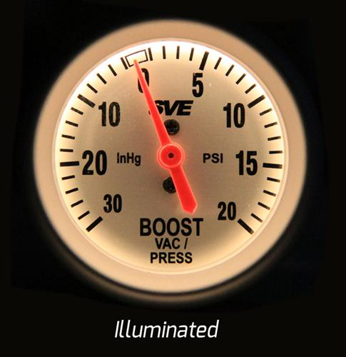 SVE Mechanical Boost Gauge. 2 1/16  Sitting On My Desk Whenever You Are Ready - Picture of SVE Boost Gauge Illuminated